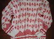 Jersey invierno rojo y blanco mujer