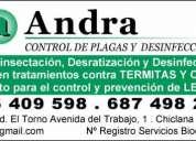 Andra. control de plagas y desinfección